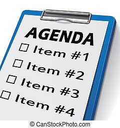 agenda clipboard with check boxes marked for item one, two,...