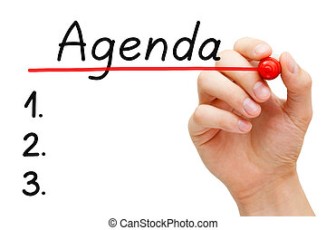 Agenda Concept - Hand underlining Agenda with red marker on...