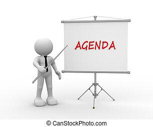 Agenda - 3d people - man, person and flipchart. Agenda
