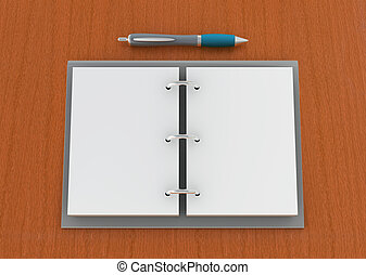 agenda - one 3d render of an agenda with pen on a wooden...