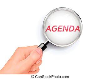 agenda, el demostrar a través, lupa