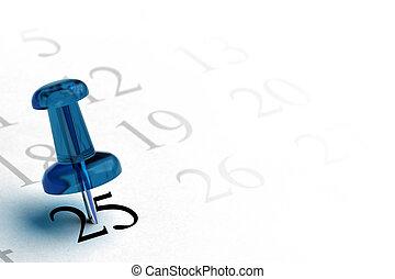 agenda, en blauw, thumbtack, met, de, getal, 25, in, black ,...
