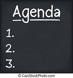 Agenda written on blackboard, vector eps10 illustration