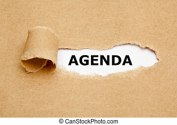 agenda, gescheurd document, concept