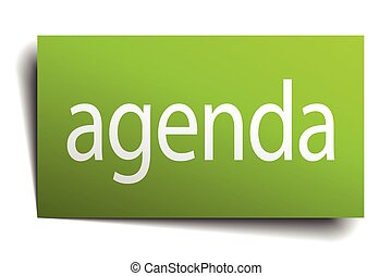 agenda green paper sign on white background