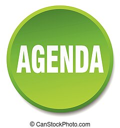 agenda green round flat isolated push button