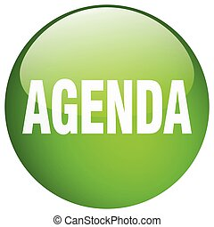 agenda green round gel isolated push button