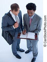 agenda, hommes affaires, business, écriture