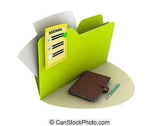 agenda icon with writing pad on the ground
