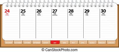 agenda, juillet, -