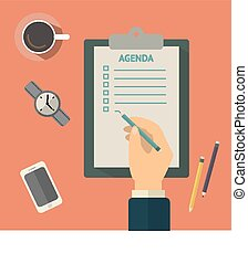Agenda list concept vector illustration. Business concept with paper agenda, pen, coffee, watch, phone, clipboard in flat style.