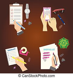 Agenda list concept vector illustration set business note ofiice calendar wishlist checklist shopping list plan to do just