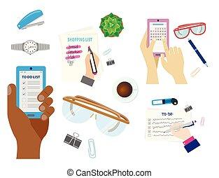 Agenda list concept vector illustration set business note ofiice calendar wishlist checklist shopping list plan to do just