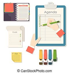 Agenda list vector business paper clipboard in flat style self-adhesive checklist notes schedule calendar planner organizer article illustration.