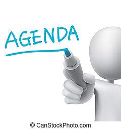 agenda, palabra, escrito, por, 3d, hombre