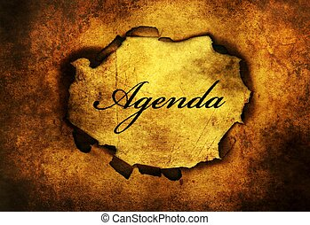 Agenda paper hole grunge concept