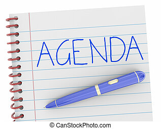 Agenda Pen Writing Word Notebook Plan 3d Illustration