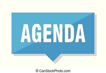 agenda price tag - agenda blue square price tag