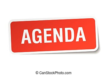 agenda red square sticker isolated on white
