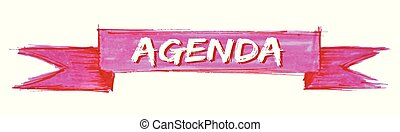 agenda ribbon - agenda hand painted ribbon sign