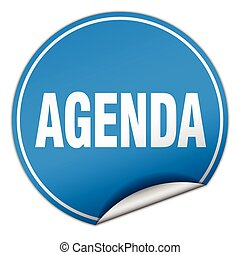 agenda round blue sticker isolated on white