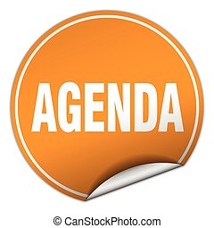 agenda round orange sticker isolated on white