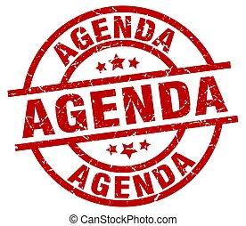 agenda round red grunge stamp