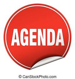 agenda round red sticker isolated on white