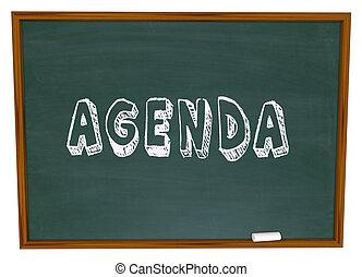 Agenda Schedule Word Chalkboard School Class Lesson Education