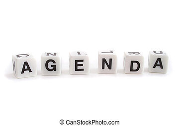 Several dices with characters show the word agenda. All isolated on white background.