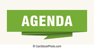 agenda sign. agenda paper origami speech bubble. agenda tag....