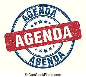 agenda stamp. agenda round grunge sign. agenda