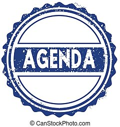 AGENDA stamp. sticker. seal. blue round grunge vintage ribbon sign