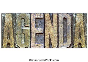 agenda wooden word