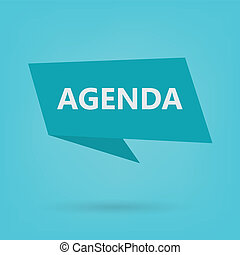 agenda word on a sticker