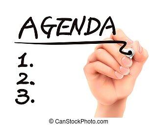 agenda word written by 3d hand