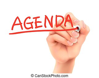 agenda word written by hand