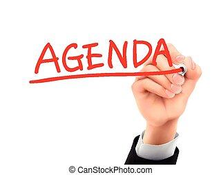 agenda written by 3d hand