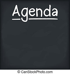 Agenda written on chalkboard, vector eps10 illustration