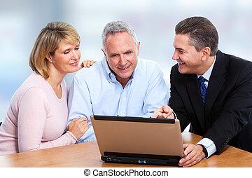 Agent, Älter, Paar, Versicherung