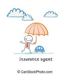 agent assurance, est, tenir parapluie, sur, les, machine