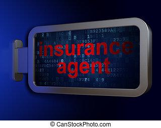 agent, assurance, fond, concept:, panneau affichage