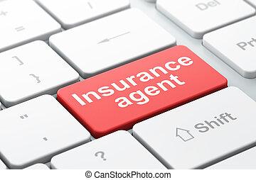 agent, assurance, fond, informatique, concept:, clavier