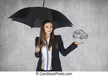 agent assurance, vend, assurance, sur, voiture