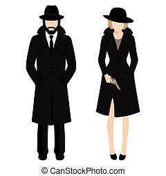agent., détective privé, homme, espion, ivestigation, character., femme