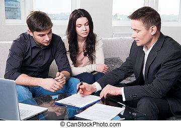 agent, det tilkendegir, den, par, underskrive, dokumenter
