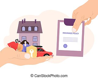 Agent hand hold insurance policy, concept money coverage save isolated on white, flat vector illustration. People character family.
