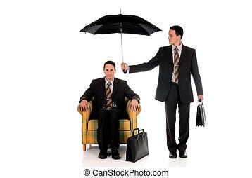 agent, homme affaires, assurance