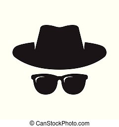 Agent icon. Spy sunglasses. Hat and glasses - Anonymous....