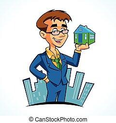 agent immobilier, dessin animé